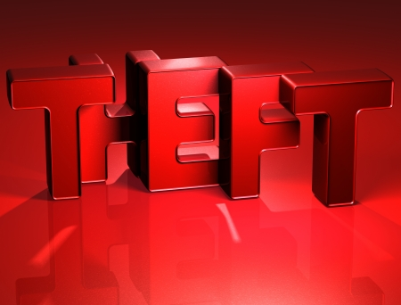 3D Word Theft on red background Stock Photo - 17047913