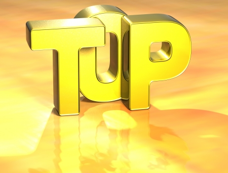 3D Word Top on yellow background  photo