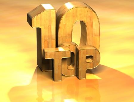 3D Word Top 10 on yellow background Stock Photo - 17047922