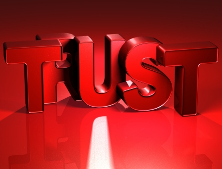 3D Word Trust on red background  photo