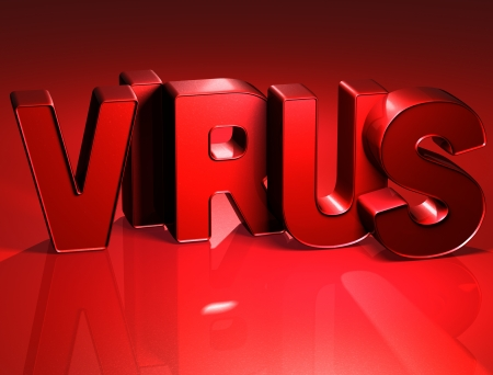 3D Word Virus on red background  Stock Photo - 17047911