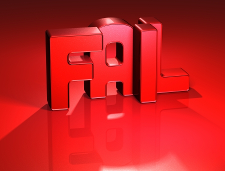 3D Word Fail on red background  Stock Photo - 17047895