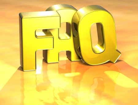 3D Word FAQ on yellow background  Stock Photo - 17047921
