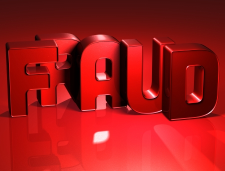 3D Word Fraud on red background  photo