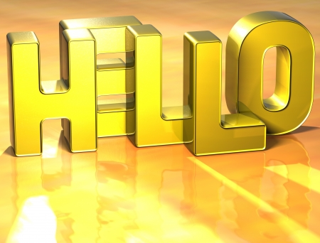 bonjour: 3D Word Hello on yellow background