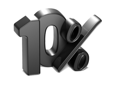 3D 10 Percent on white background Stock Photo - 17047863