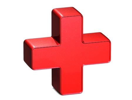 cruz roja: Sign 3D Plus rojo sobre fondo blanco