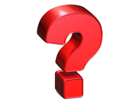 3D Question Red Sign over white background  photo