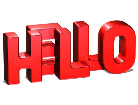3D Word Hello on white background photo