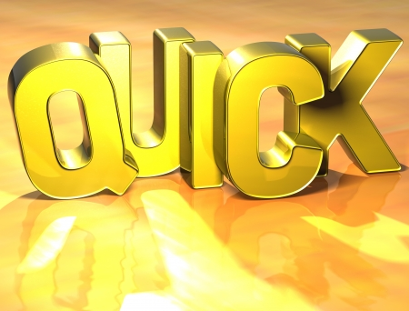 resolving: 3D Word Quick on yellow background Stock Photo