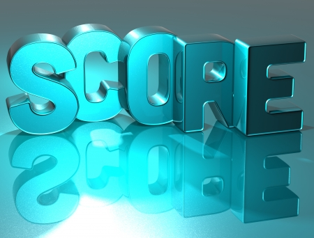 3D Word Score on blue background photo