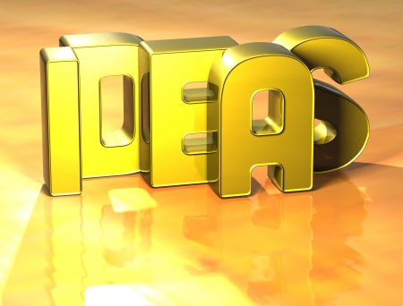 3D Word Ideas on yellow background photo