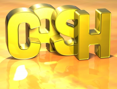 3D Word Cash on yellow background photo