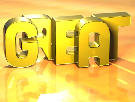 3D Word Great on yellow background Stock Photo - 17099989