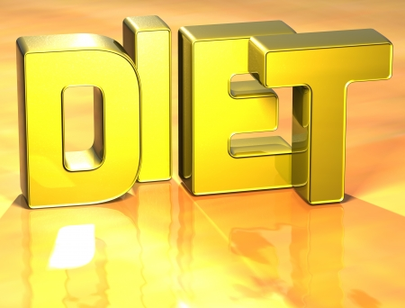3D Word Diet on yellow background photo