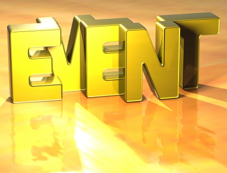 3D Word Event on yellow background Stock Photo - 17099966