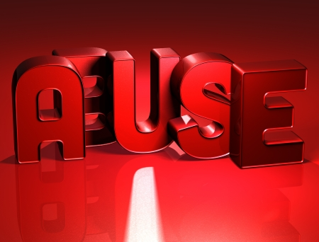 3D Word Abuse on red background Stock Photo