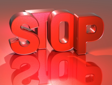3D Word Stop on red background photo