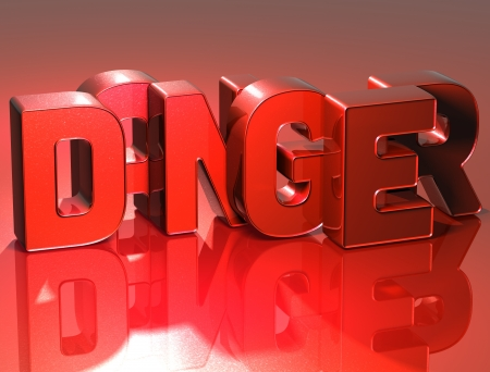 3D Word Danger on red background photo