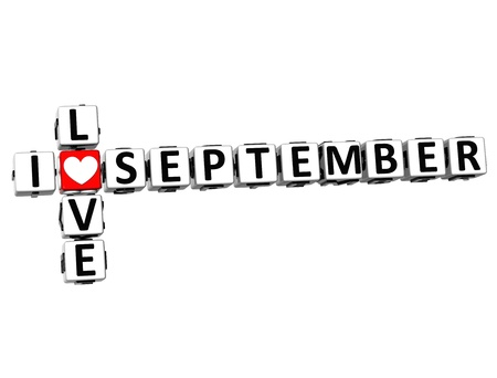 3D I Love September Crossword on white background photo