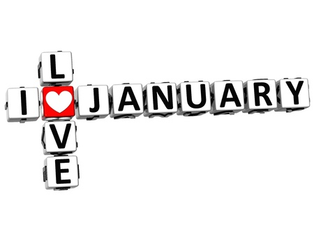3D I Love January Crossword on white background Stock Photo - 17099755