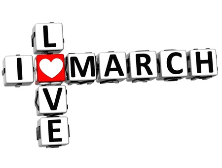 3D I Love March Crossword on white background photo