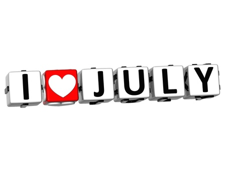 3D I Love July Button Click Here Block Text over white background Stock Photo - 17099687