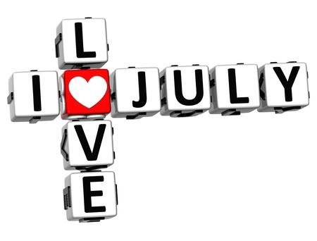 3D I Love July Crossword on white background Stock Photo - 17099719