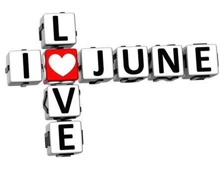 june: 3D I Love June Crossword on white background Stock Photo