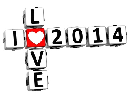 3D I Love 2014 Crossword on white background photo