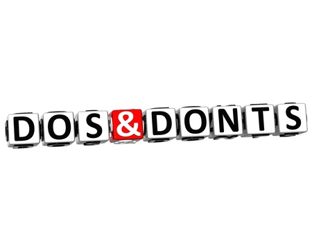 don't: 3D Dos And Donts Button Click Here Block Text over white background