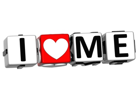 romance strategies: 3D I Love Me Button Click Here Block Text over white background Stock Photo