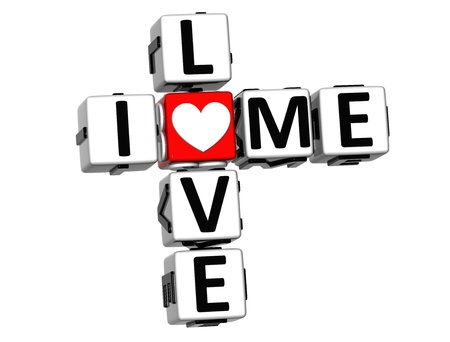 3D I Love Me Crossword on white background photo