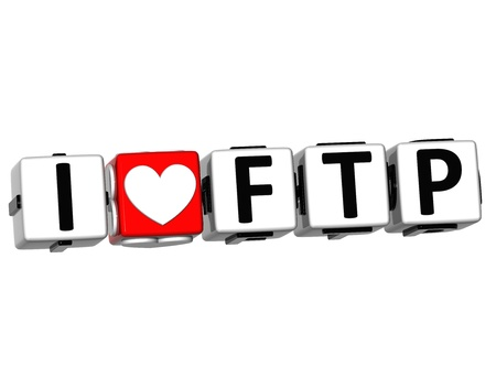 3D I Love FTP Button Click Here Block Text over white background Stock Photo - 17099682