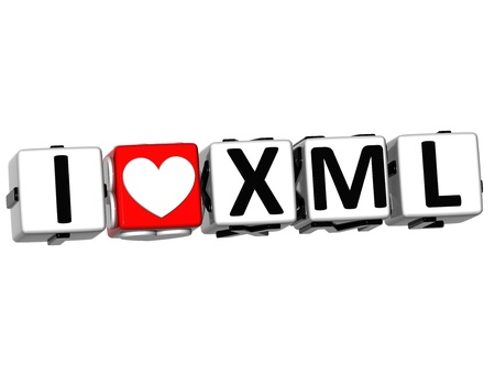 3D I Love XML Button Click Here Block Text over white background Stock Photo - 17099752