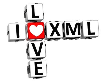 xml: 3D I Love XML Crossword on white background Stock Photo