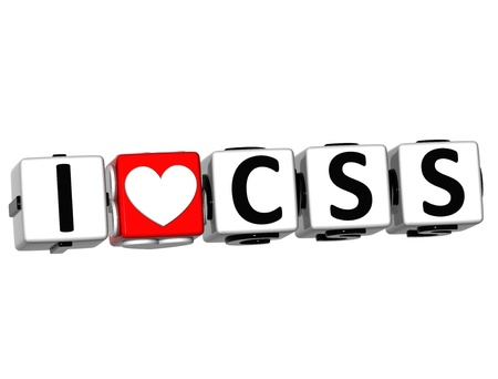 css: 3D I Love CSS Button Click Here Block Text over white background