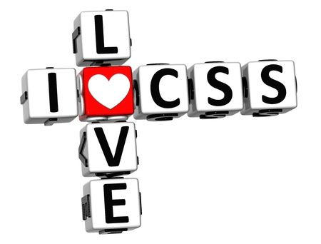 3D I Love CSS Crossword on white background photo