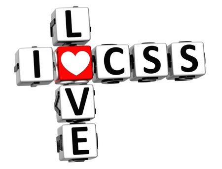 3D I Love CSS Crossword on white background Stock Photo - 17099824