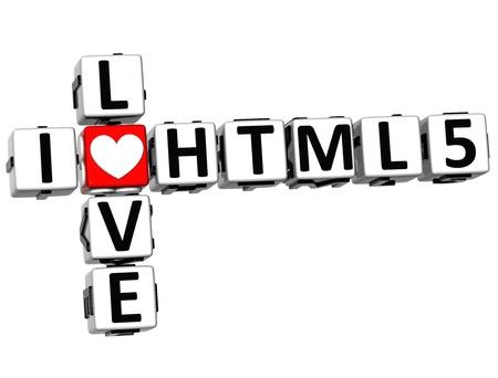 3D I Love HTML 5 Crossword on white background Stock Photo - 17099778