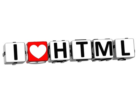 3D I Love HTML Button Click Here Block Text over white background Stock Photo - 17099742