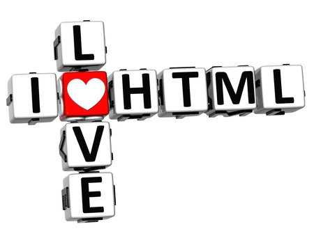 3D I Love HTML Crossword on white background Stock Photo - 17099823