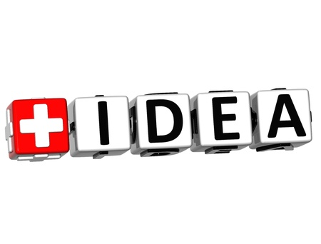 3D Add Idea Button Click Here Block Text over white background