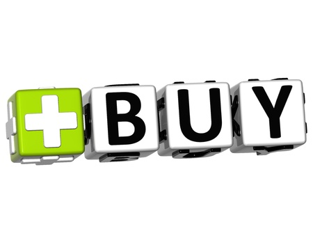 3D Buy Button Click Here Block Text over white background photo