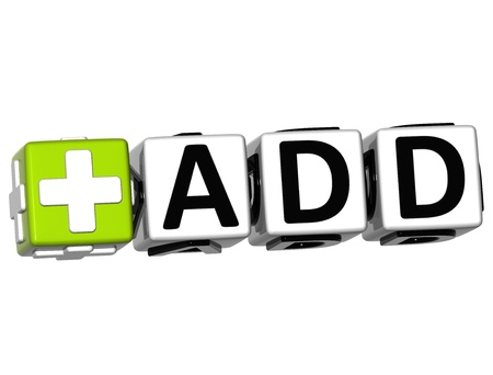 3D Add Button Click Here Block Text over white background Stock Photo - 17099764