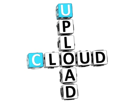 3D Upload Cloud Crossword on white background photo