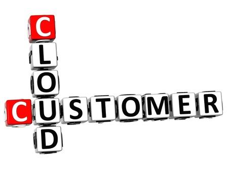 3D Customer Cloud Crossword on white background photo