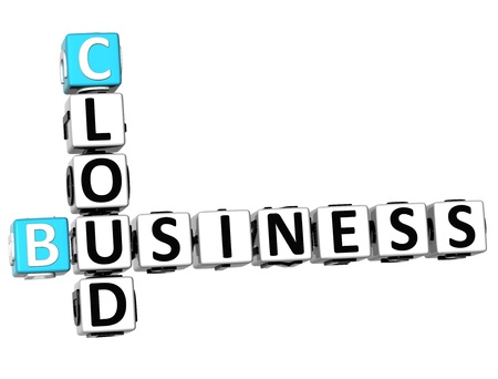 3D Business Cloud Crossword on white background photo