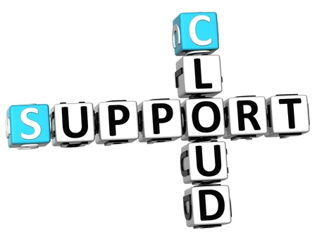 3D Cloud Support Crossword on white background photo