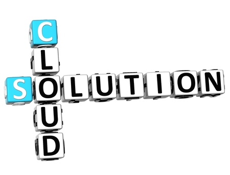 3D Cloud Solution Crossword on white background photo